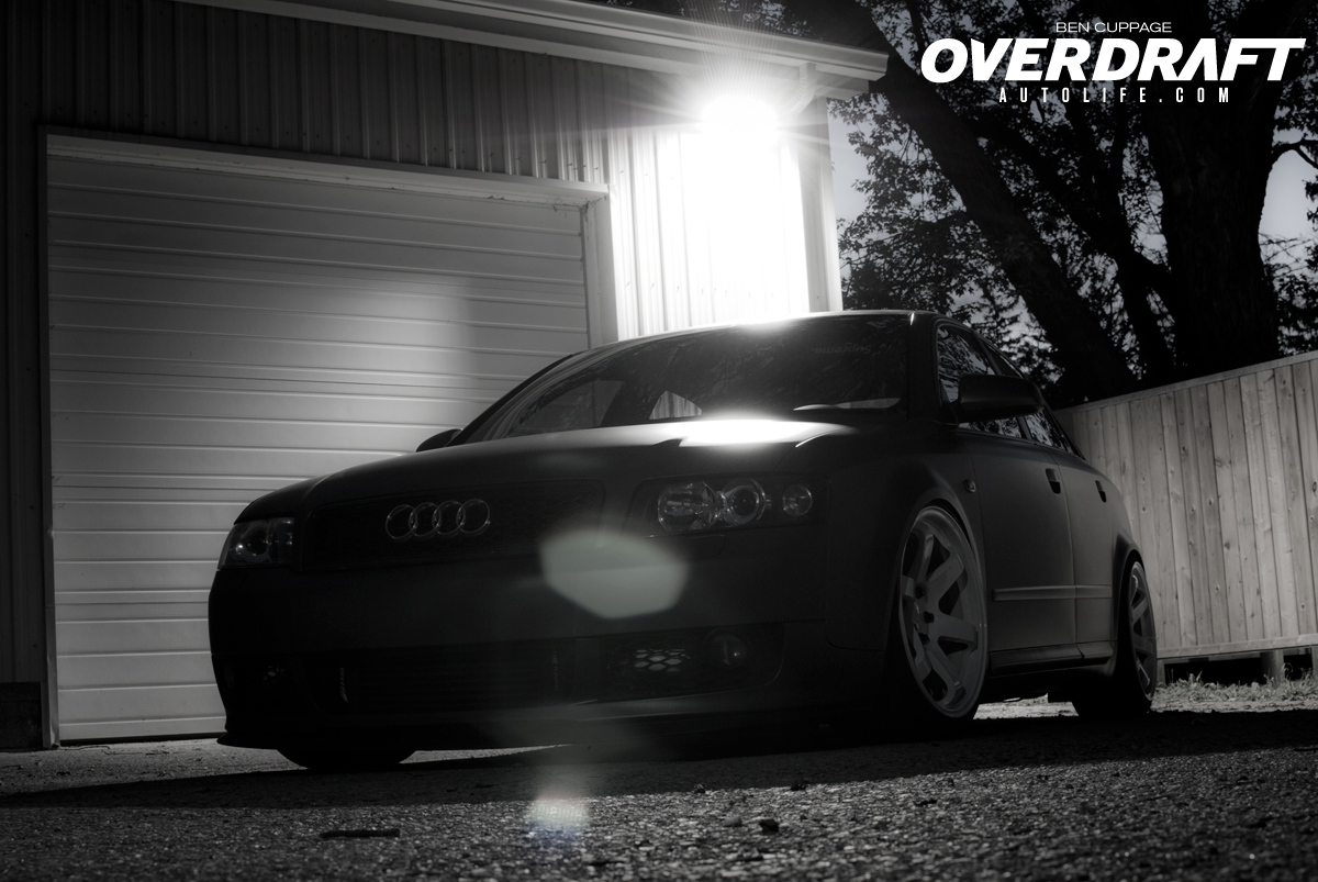 Lit up Static Audi A4 in the night